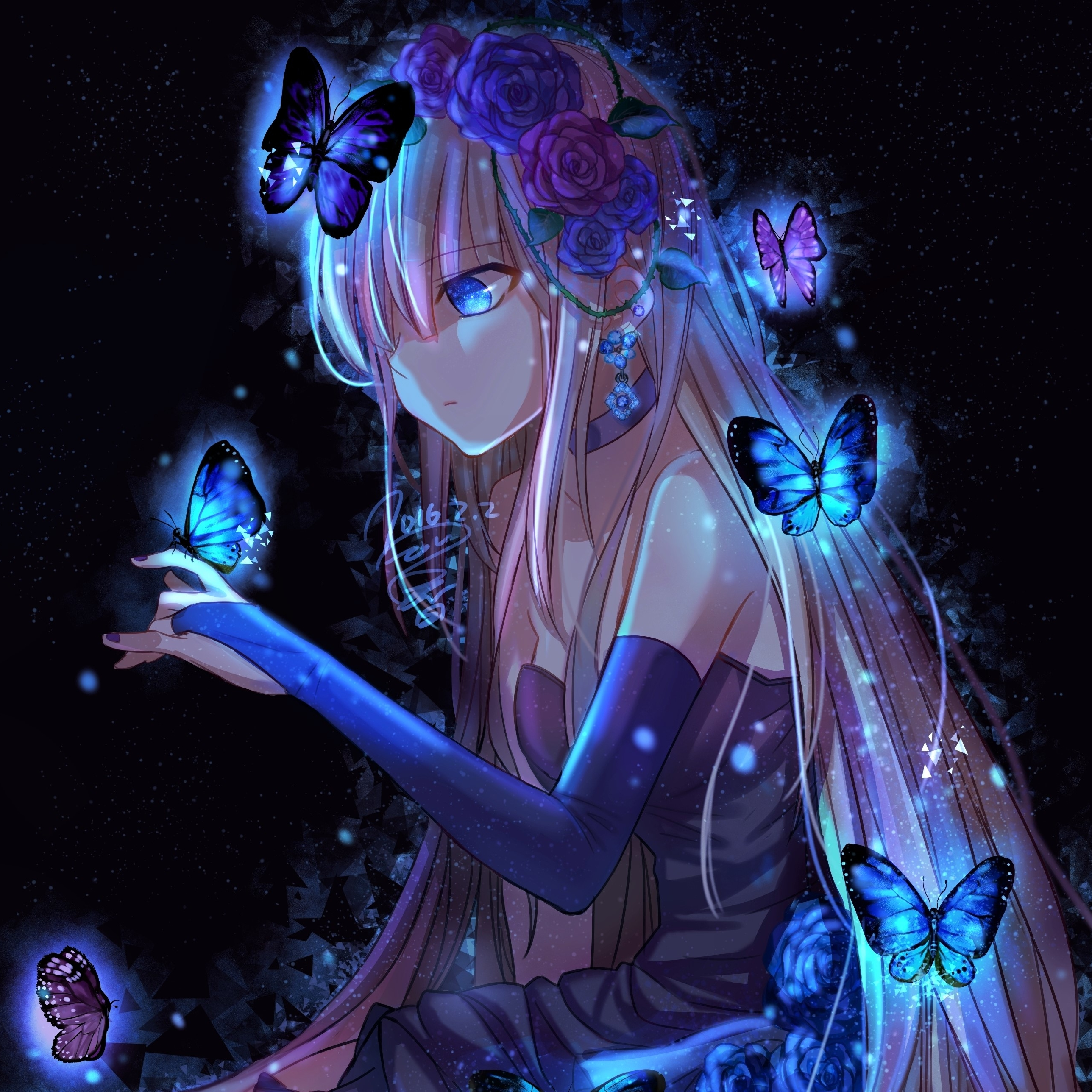anime girl and butterflies forum avatar