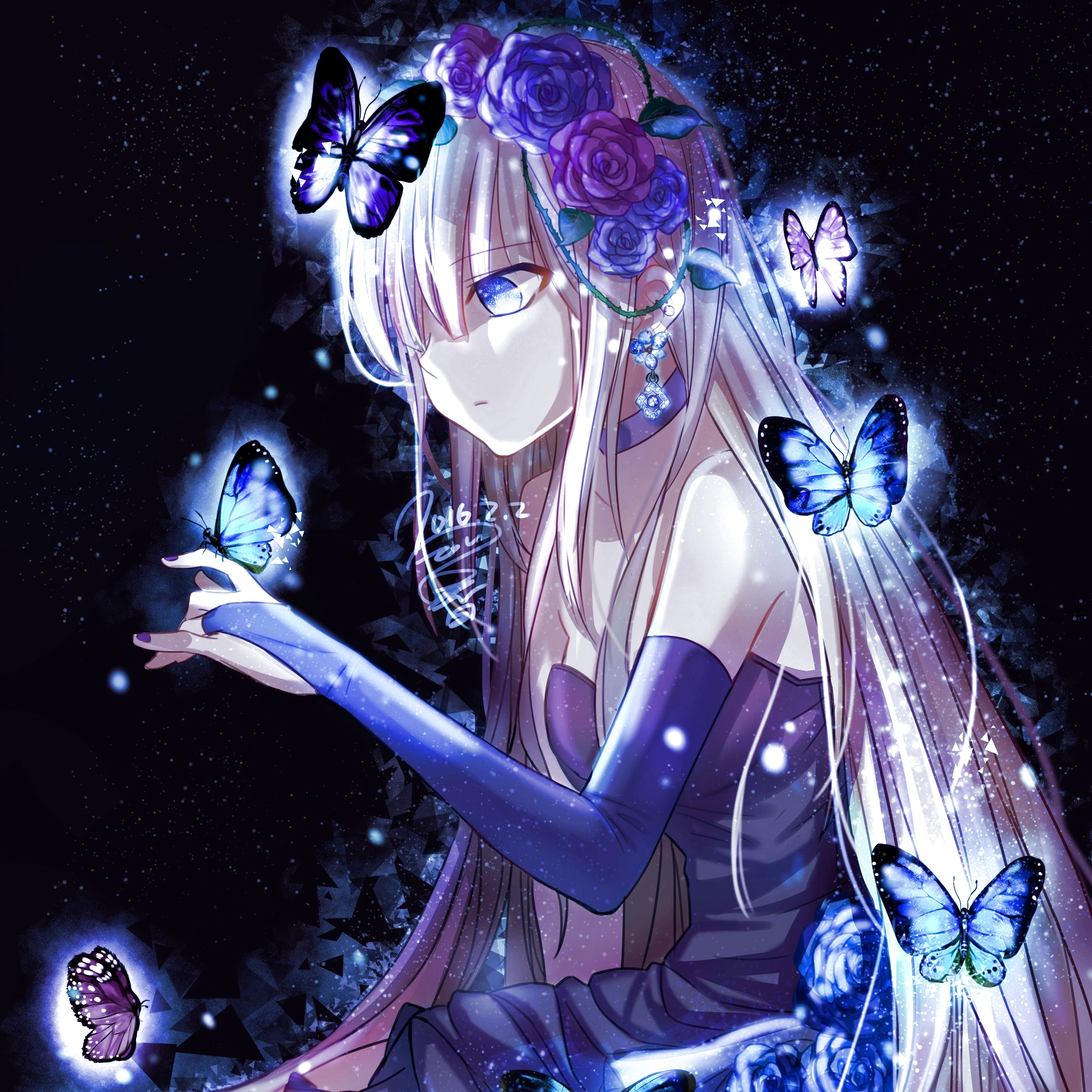 Anime girl and butterflies avatar id 112888